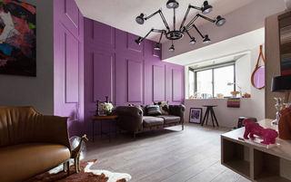 个性紫色现代风客厅沙发背景墙装饰