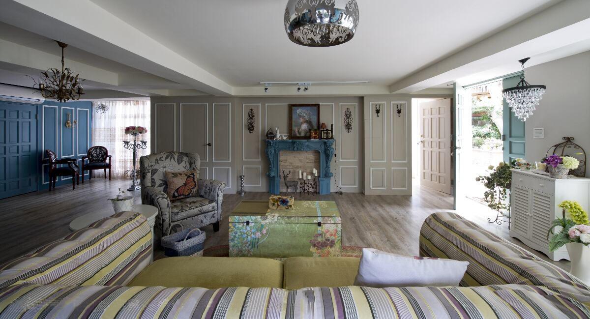 素雅简约美式田园设计客厅背景墙效果图