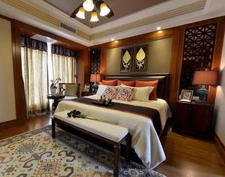 奢华精美新古典东南亚风情卧室背景墙设计