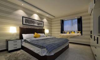 素雅现代卧室灰白墙纸装饰