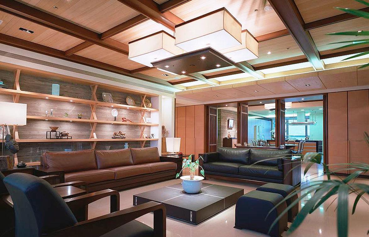 温馨时尚新中式客厅原木吊顶效果图