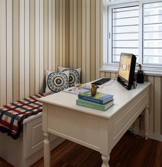 精致地中海书房竖条纹背景墙设计
