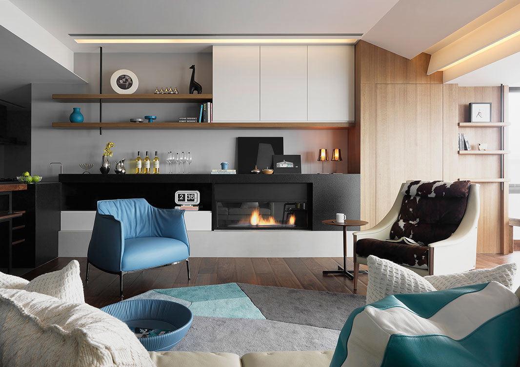时尚简约现代客厅壁炉装潢图