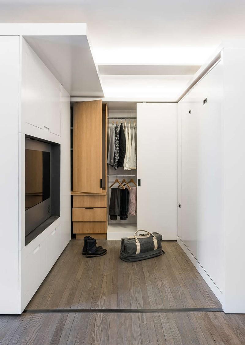 简约宜家衣帽间实木衣柜设计效果图