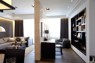 时尚摩登现代风客厅书房隔断设计