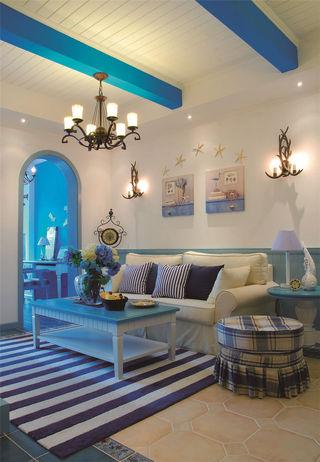 唯美蓝色地中海客厅沙发背景墙装饰