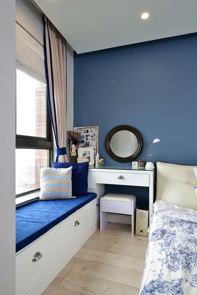 蓝色简约美式卧室背景墙设计效果图