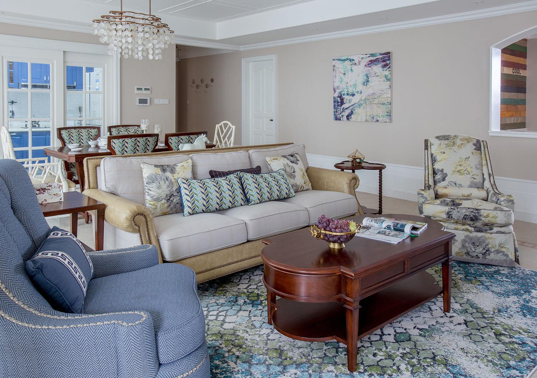 清新复古美式 客厅沙发效果图