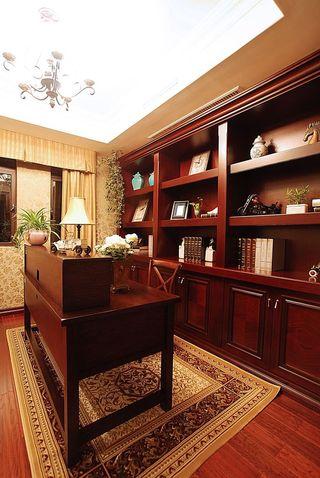 精美复古美式红木书房设计效果图