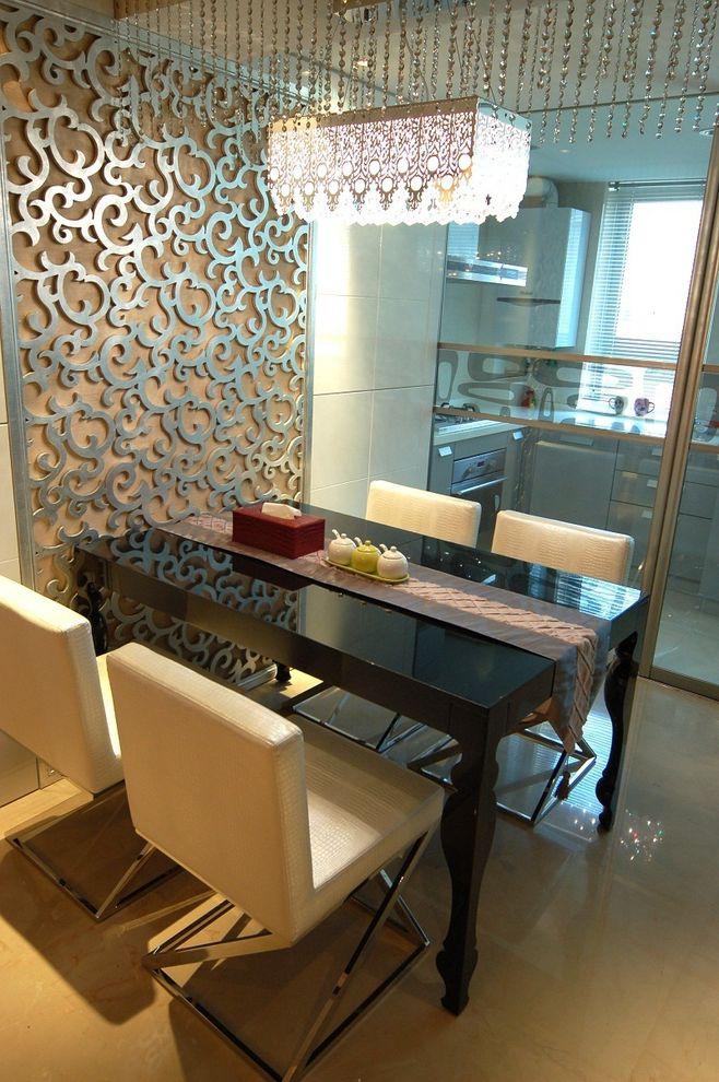 精美简欧现代风混搭餐厅雕花背景墙设计