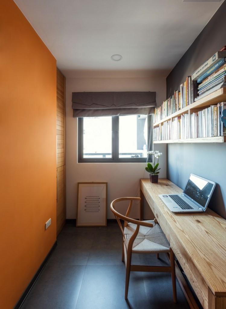 现代时尚书房原木书桌装饰图