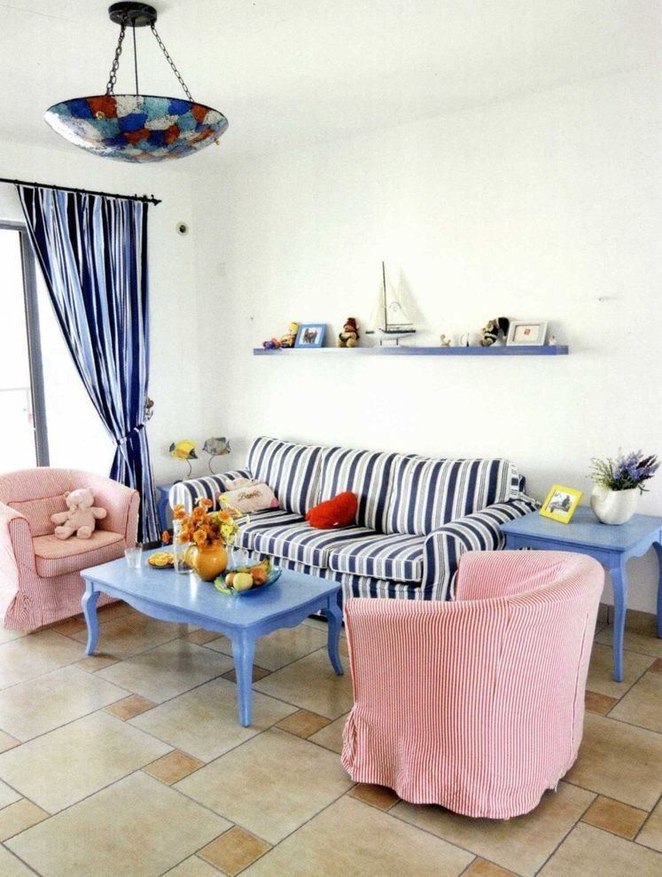 可爱蓝白地中海装饰风格客厅装修效果图