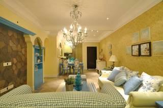 68平清新舒适地中海风情二居装潢设计效果图