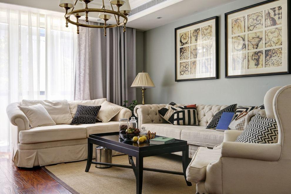 文艺复古美式客厅沙发相片墙家居布置