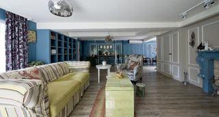 蓝色美式北欧田园风混搭三室两厅设计