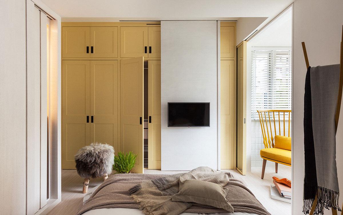 清新黄色宜家卧室衣柜设计效果图