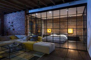 个性复古北欧工业风客厅卧室格子隔断设计