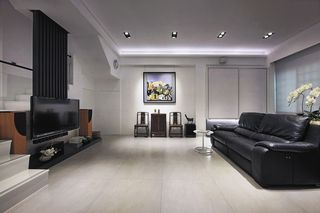 黑白时尚现代客厅真皮沙发装饰图