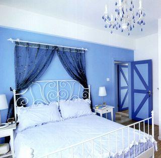 夏日蓝白清凉地中海卧室装修美图欣赏