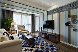 精致复古美式地中海混搭客厅竖条纹背景墙装饰