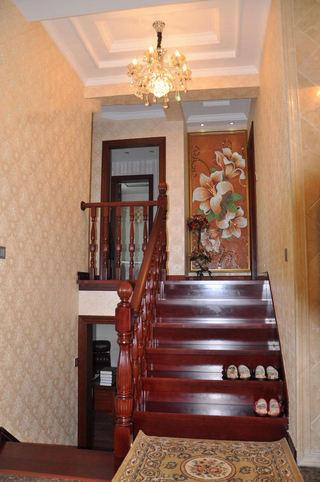 时尚豪华混搭红木楼梯装潢图