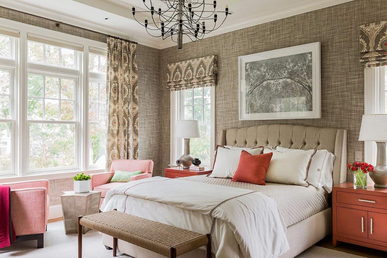 素雅精致北欧风格卧室布艺背景墙装饰