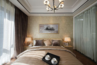现代简约卧室窗帘隔断设计