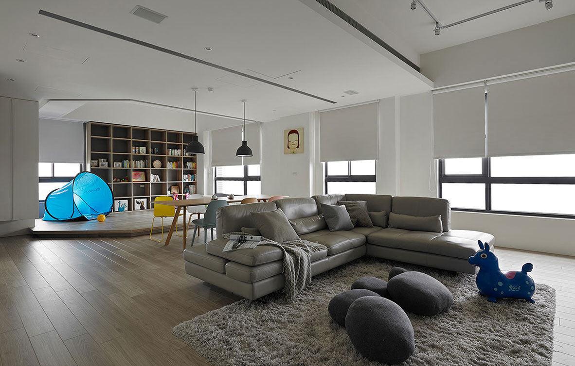 家装简约现代客厅灰色沙发效果图
