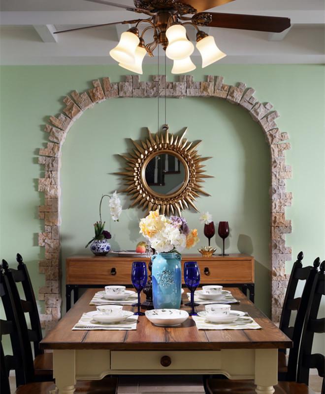 精致复古美式田园餐厅背景墙设计