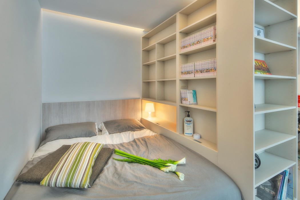 清新简约小卧室整体展示柜布局设计