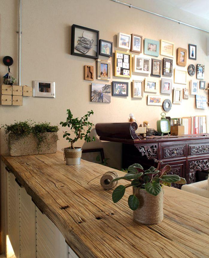 自然中式混搭家居相片墙效果图