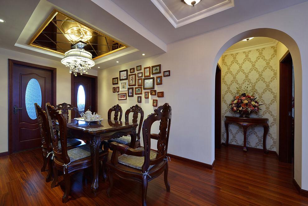 奢华欧式古典餐厅照片墙设计