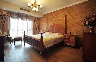 温馨复古田园风卧室暗橙色花纹背景墙装修