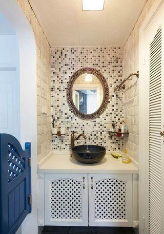 文艺地中海风卫生间洗脸盆马赛克背景墙装饰