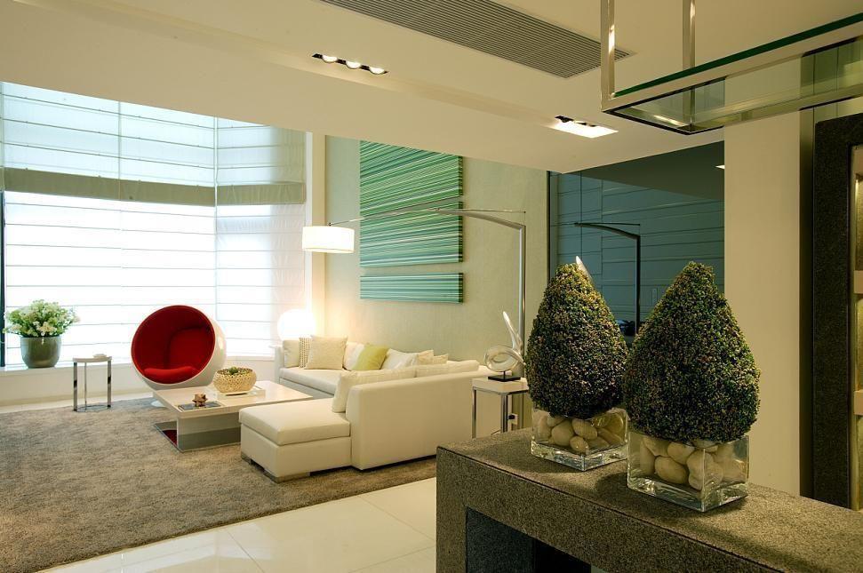 时尚清新现代别墅客厅隔断装潢设计