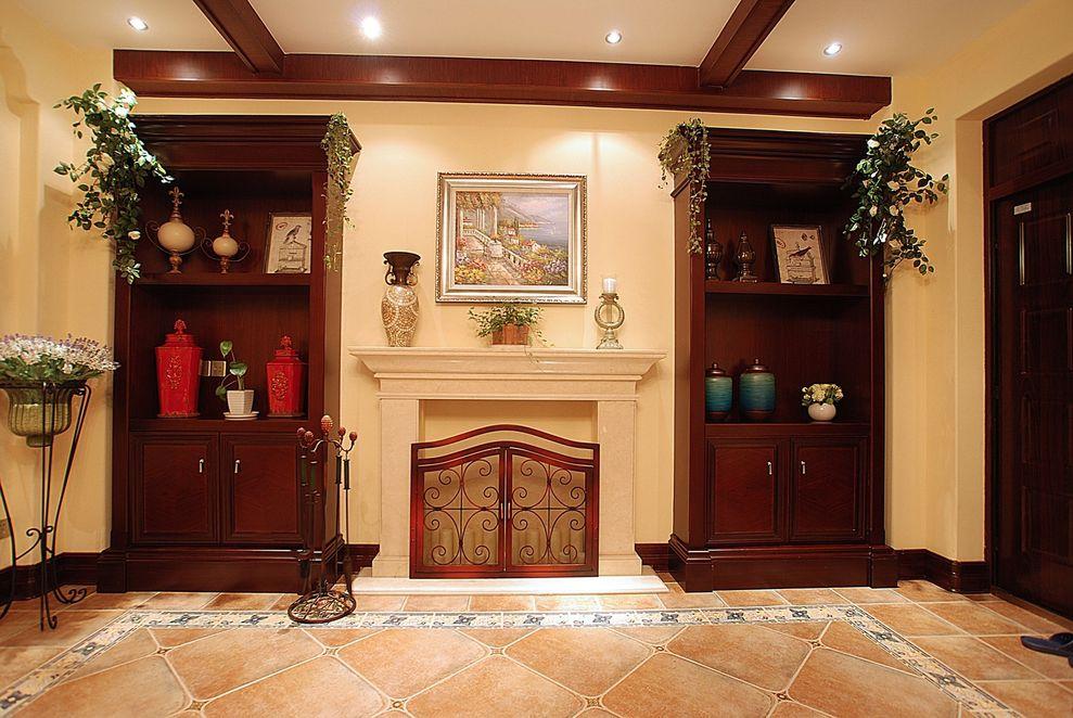 精致复古美式玄关红木展示柜设计