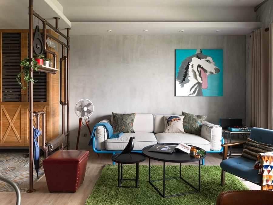 复古北欧工业风混搭客厅沙发装饰设计
