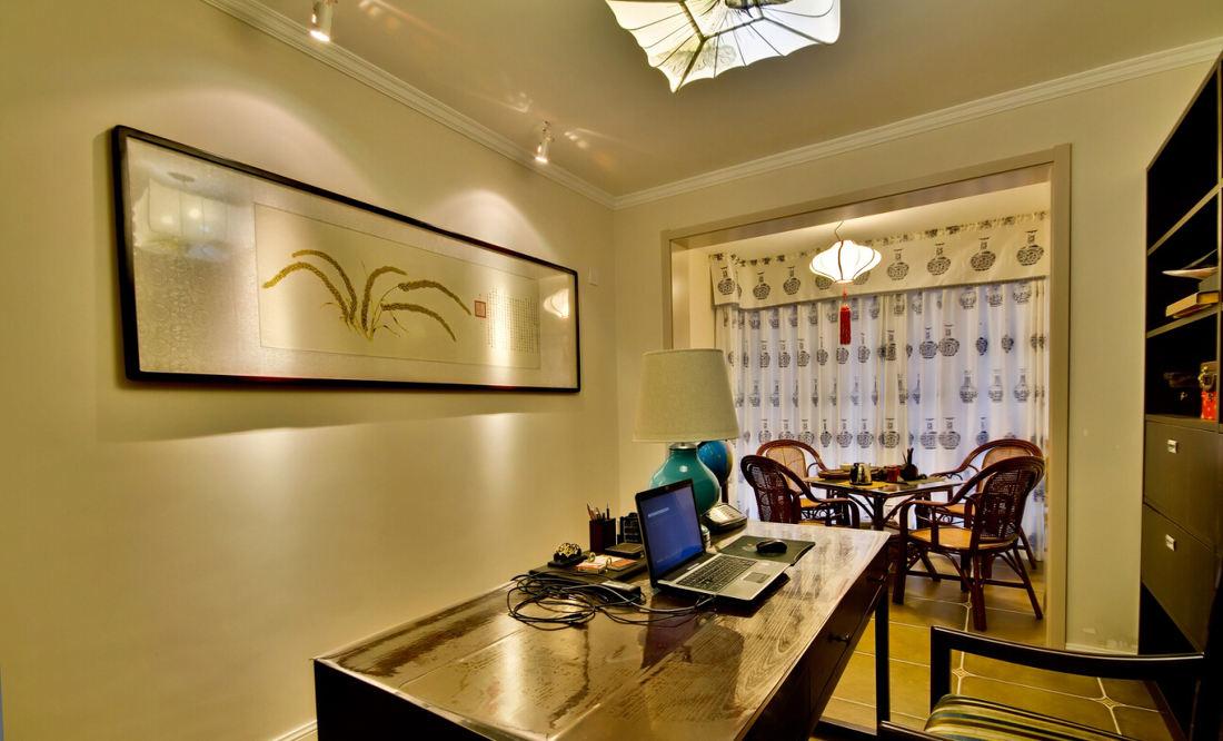 温馨简约中式风格书房装饰效果图