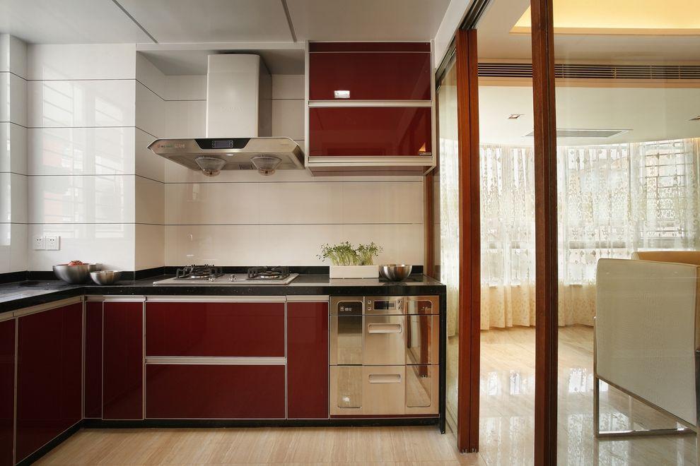 现代简约家居厨房红色橱柜设计