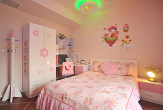 可爱现代粉色儿童房装饰图