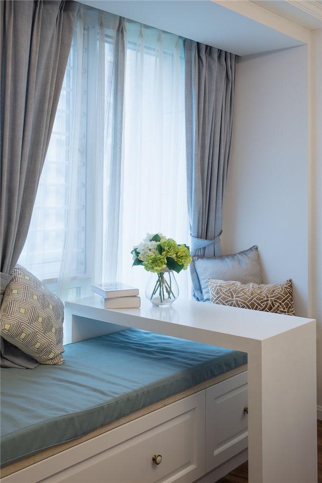 唯美清新冷蓝色美式飘窗窗帘设计效果图