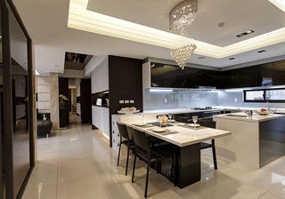 时尚现代餐厅厨房一体设计装修图