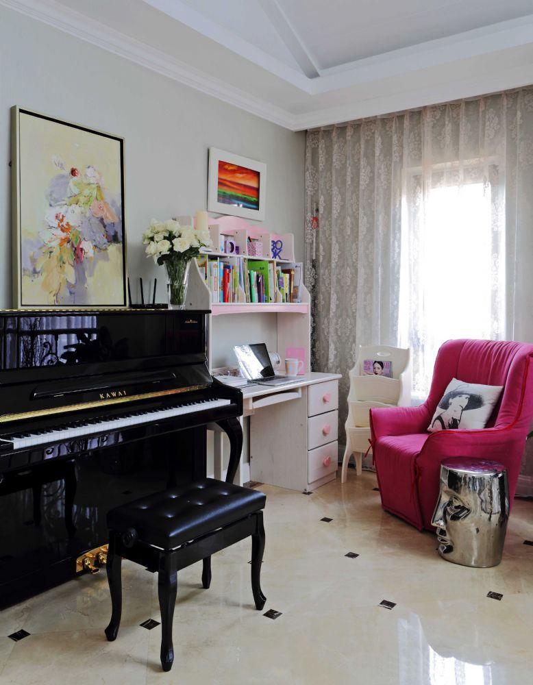 简约北欧装修儿童书房钢琴室装潢设计