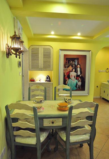 柠檬黄地中海风格餐厅吊顶效果图