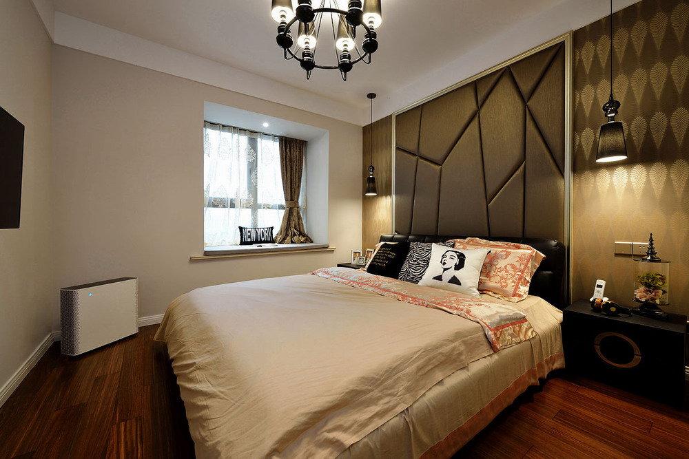 时尚摩登现代风卧室黑色拼接软包背景墙装饰