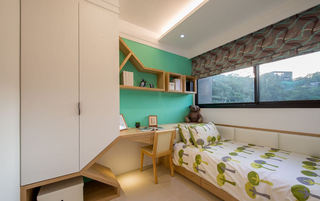 清新活泼宜家儿童房绿色背景墙装修图片