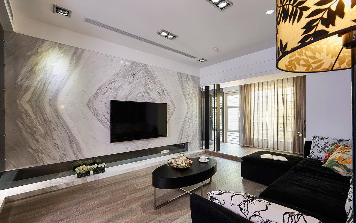 现代风客厅大理石电视背景墙效果图