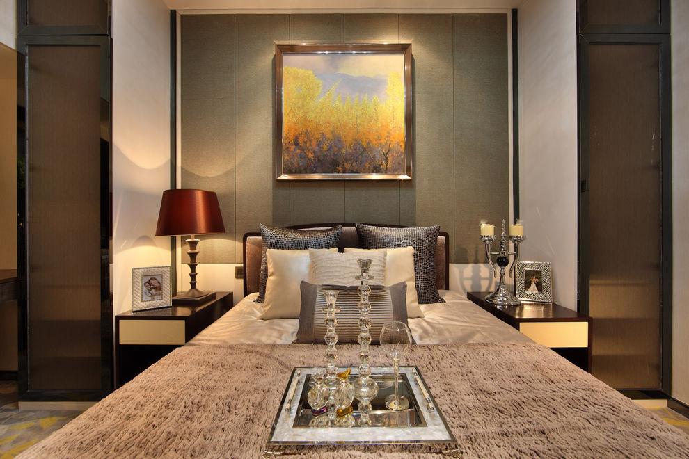 现代美式卧室台灯装饰效果图