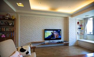 简洁北欧装修风格客厅石灰电视背景墙装饰图