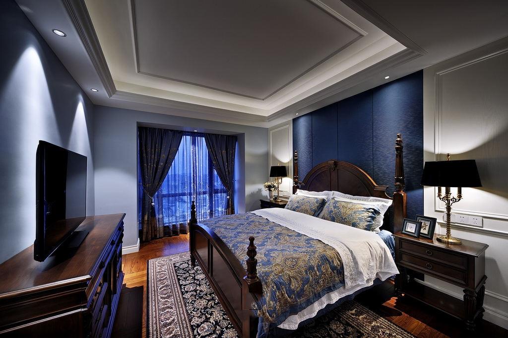 精致宝石蓝美式卧室效果图大全